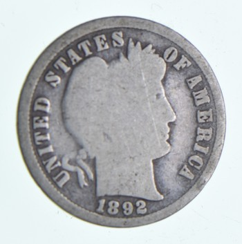 1892 Barber Liberty 90% Silver United States Dime