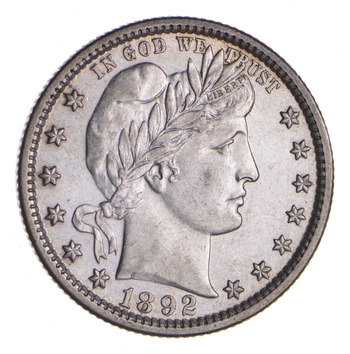 1892 Barber Silver Quarter - Choice