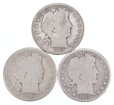 1892-1915 Lot 3 1911-S 1901-S 1912-S Barber 90% Half Dollars Collection
