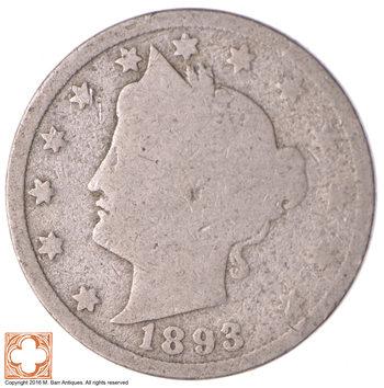 1893 Liberty V Nickel - Better Date