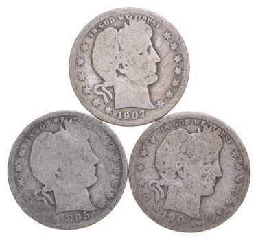 1895 & 1901 & 1907 Barber Liberty Silver Quarter 3 Coin Lot