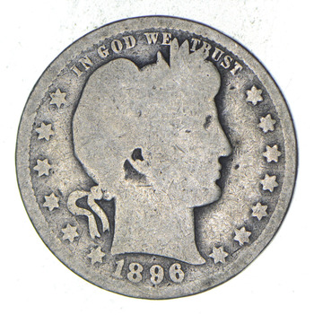 1896-O Barber Head Silver Quarter - Circulated