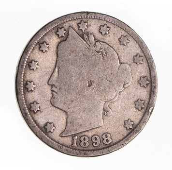 1898Liberty Head V Nickel - Circulated Condition - Over 110 Years Old!