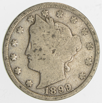 1899Liberty Head V Nickel - Circulated Condition - Over 110 Years Old!