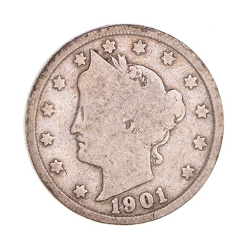 1901 Liberty Head V Nickel - Circulated Condition - Over 110 Years Old!