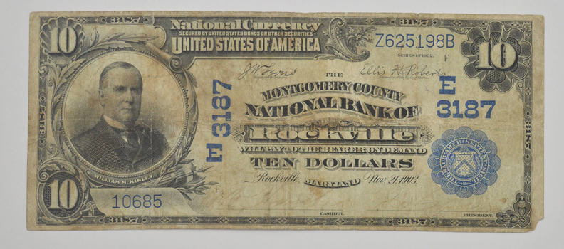1902 $10 Charter #: E3187 National Bank of Rockville MD Large Note