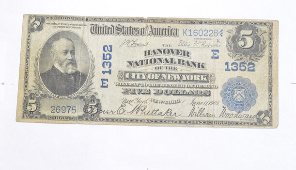 1902 $5.00 Hanover National Bank Of The City Of New York National Currency - Large Note