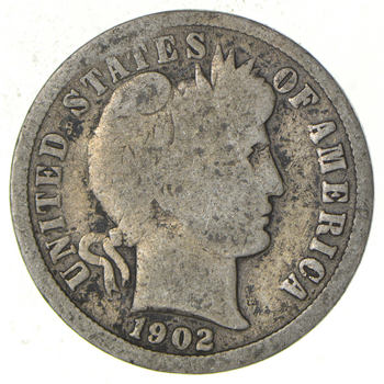 1902 Barber Liberty 90% Silver United States Dime