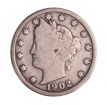 1902 Liberty Head V Nickel - Circulated Condition - Over 110 Years Old!