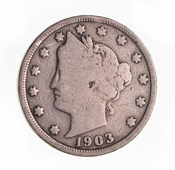 1903 Liberty Head V Nickel - Circulated Condition - Over 110 Years Old!