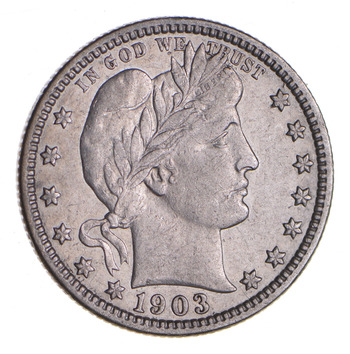 1903-O Barber Silver Quarter - Circulated