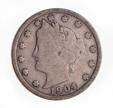 1904 Liberty Head V Nickel - Circulated Condition - Over 110 Years Old!