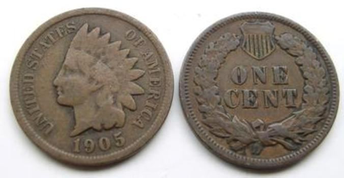1905 Indian Head Cent - Over 100 Years Old