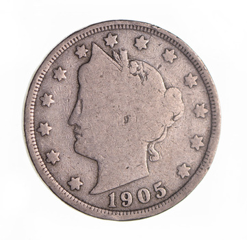 1905 Liberty Head V Nickel - Circulated Condition - Over 110 Years Old!