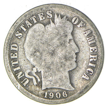 1906 Barber Liberty 90% Silver United States Dime