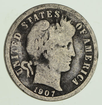 1907 Barber Liberty 90% Silver United States Dime