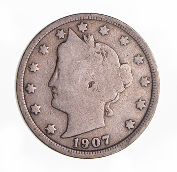 1907 Liberty Head V Nickel - Circulated Condition - Over 100 Years Old!