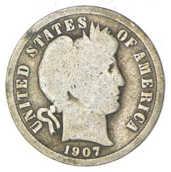 1907-O Barber Liberty 90% Silver United States Dime