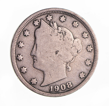 1908 Liberty Head V Nickel - Circulated Condition - Over 100 Years Old!