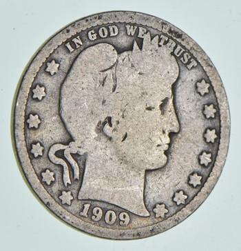 1909 Liberty Barber 90% Silver US Quarter