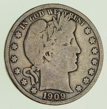 1909-S Barber Head Silver Half Dollar - Circulated