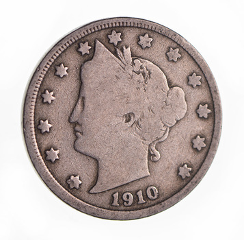 1910 Liberty Head V Nickel - Circulated Condition - Over 100 Years Old!