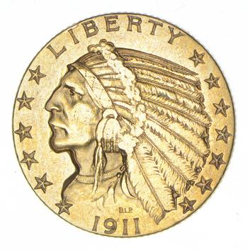 1911 $5.00 Indian Head Gold Half Eagle
