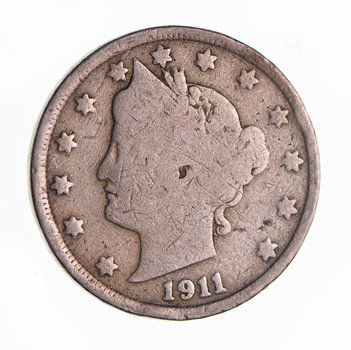 1911 Liberty Head V Nickel - Circulated Condition - Over 100 Years Old!