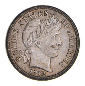 1912 Barber Silver Dime - Choice