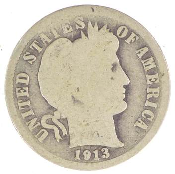1913 Barber LIberty 90% Silver United States Dime
