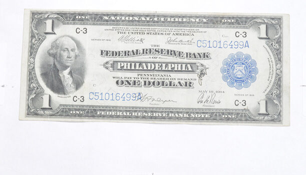 1914 $1.00 Federal Reserve Bank Philadelphia National Currency - Large Note