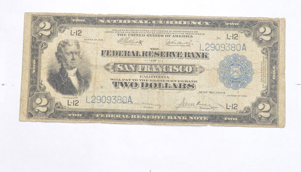1914 $2.00 Federal Reserve Bank San Francisco National Currency - Large Note