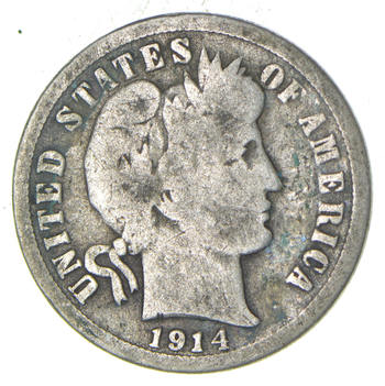 1914 Barber Liberty 90% Silver United States Dime