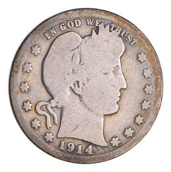 1914-S Barber Silver Quarter - Circulated