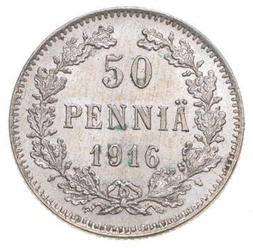 1916 Finland (Russian) 50 Pennia Silver Coin Civil War Coinage Kerenski