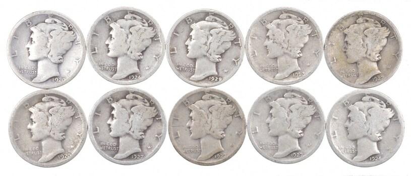1916-1929 P/D/S Mercury Dime Lot Collection $1.00 Face 90% Silver