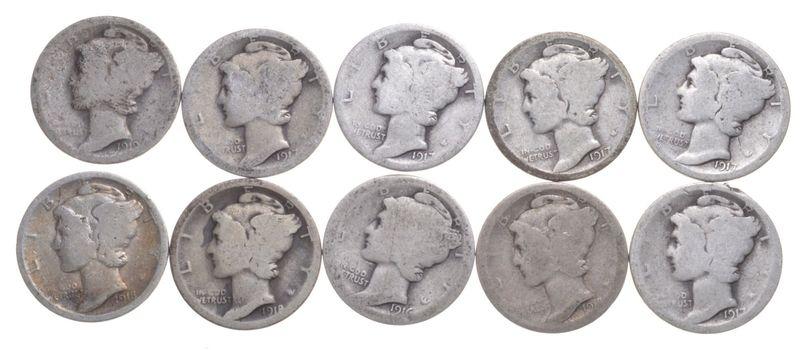 1916-1931 P/D/S Mercury Dime Lot Collection $1.00 Face 90% Silver