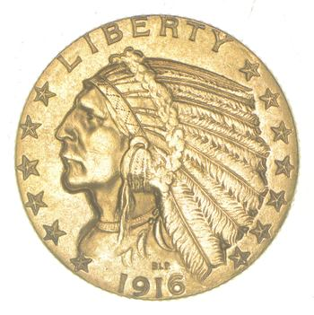 1916-S $5.00 Indian Head Gold Half Eagle