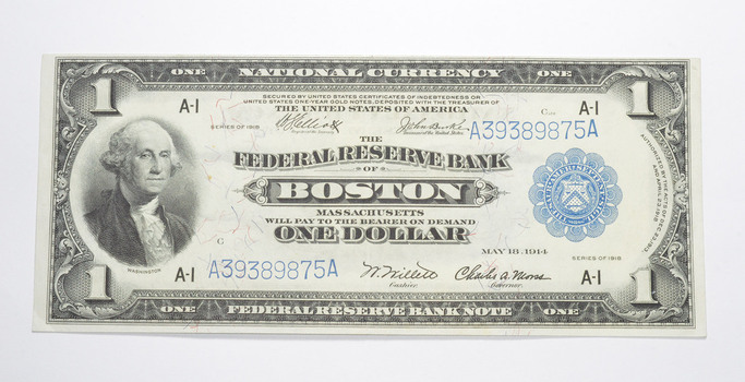 1918 $1 Boston, MA. United States Federal Reserve Large Note