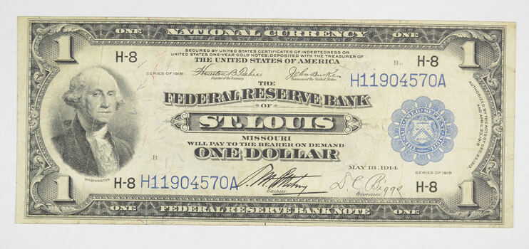 1918 $1 National Currency Note - St. Louis, MO - Horse Blanket