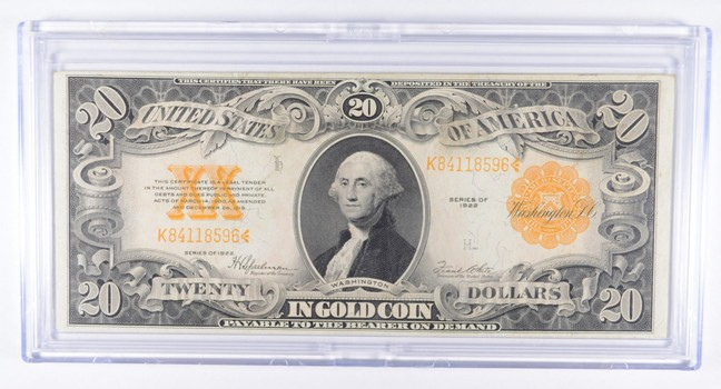 1922 $20 Gold Certificate Large Size Note