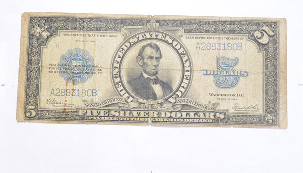 1923 $5.00 United States Silver Certificate - Blue Seal - Large Note