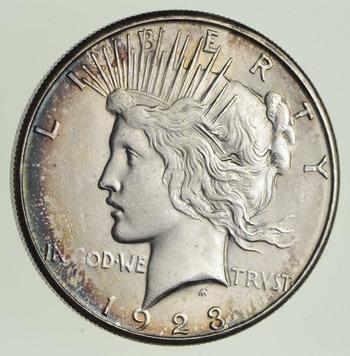 1923-S Peace Silver Dollar - Toned - Choice