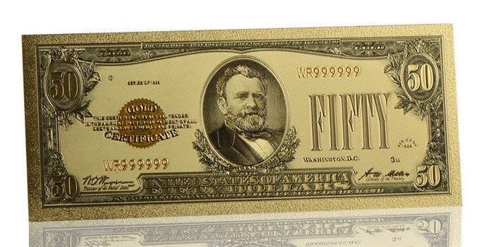 1928 Gold Cerficiate $50 Foil Plated United States- Replica Bank Note