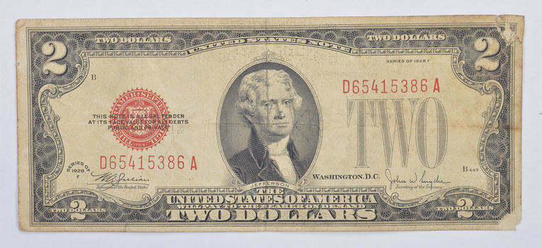 1928 Red Seal $2.00 United States Note - Historic
