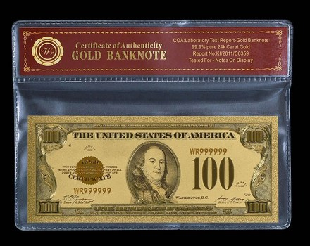1928 US Gold Foil $100- Beautifully Displayed Replica Bank Note