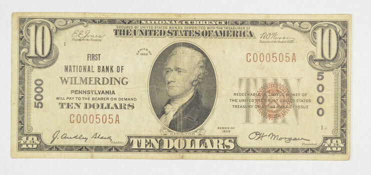 1929 $10 National Currency Note - Wilmerding, PA - Low Serial #