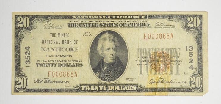 1929 $20 Nanticoke, Pennsylvania United States National Currency 13524