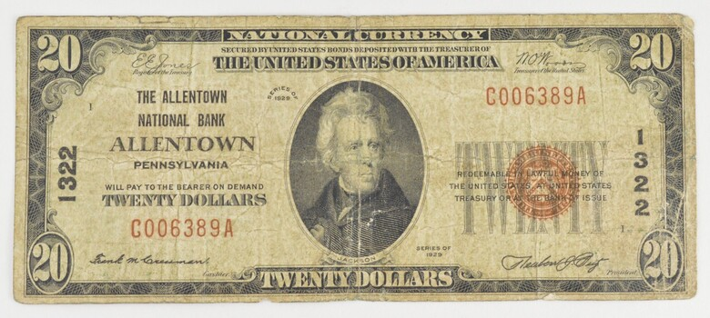 1929 $20 National Bank Of Allentown PA National Currency Note