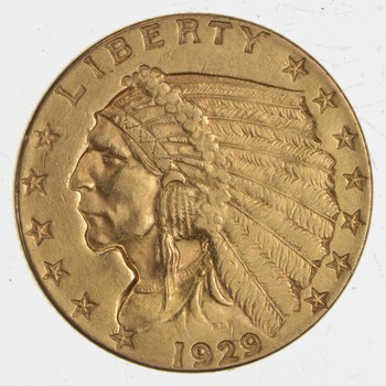 1929 $2.50 Indian Head Gold Quarter Eagle